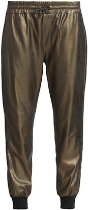 Brunello Cucinelli Metallic Leather Joggers