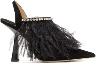 Jimmy Choo Ambre 100 Feathered Suede Slingback Pumps - Black