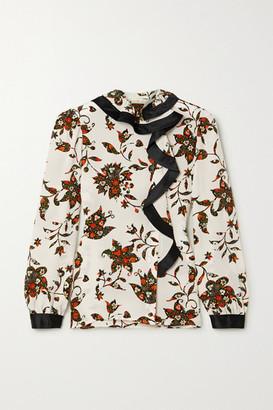 Tory Burch Ruffled Floral-print Silk Crepe De Chine Wrap Blouse - Ivory