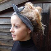 BloombyEllen Black Glitter Bow Headband