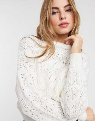 Pieces knitted sweater in cream