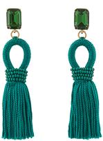 Oscar de la Renta Crystal-embellished short tassel clip-on earrings