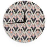 "KESS InHouse NL Designs ""Amazing Things"" Gold White Wall Clock, 12"""