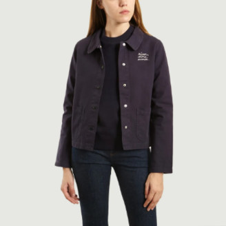 Maison Labiche Carbon Blue Embroidered Worker Jacket - small