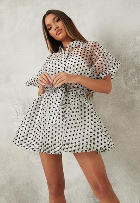 Missguided White Polka Dot Organza Skater Shirt Dress