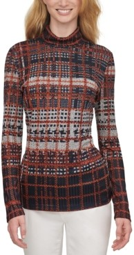 DKNY Plaid Long-Sleeve Turtleneck Textured Top