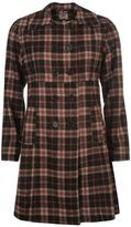 Lee Cooper Womens Check Pattern Wool Coat Top Jacket Full Front Button Fastening