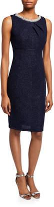 Marina Embellished Neckline Sheath Dress
