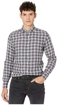Eleventy Washed Linen Plaid Sport Shirt (Brown/Navy) Men's Clothing