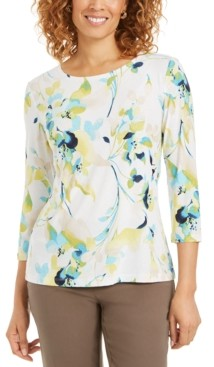 JM Collection Petite Printed Embroidered 3/4-Sleeve Top, Created for Macy's