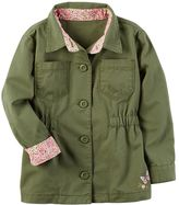 Carter's Girls 4-8 Olive Floral Trim Lightweight Jacket