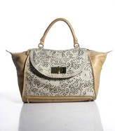 Be & D Beige Leather Cut Out Detail Satchel Tote Handbag