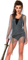 Leg Avenue Women's 2 Piece Faux Chain Mail Hooded Dress and Rope Belt Costume