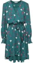 Joie Asymmetric Ruffled Floral-print Crepe De Chine Dress