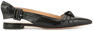 Francesco Russo Leather Ballerina Shoes