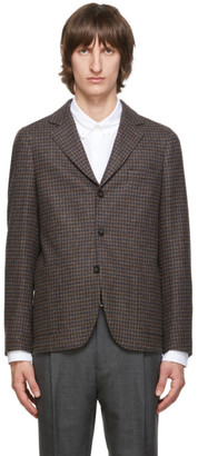 Officine Generale Navy and Brown Houndstooth Armie Blazer