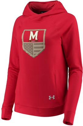 Under Armour Women's Red Maryland Terrapins Military Appreciation Featherweight Fleece Tri-Blend Pullover Hoodie