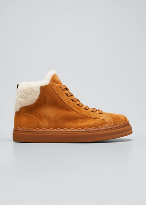 Chloé Lauren Shearling Suede Winter High-Top Sneakers