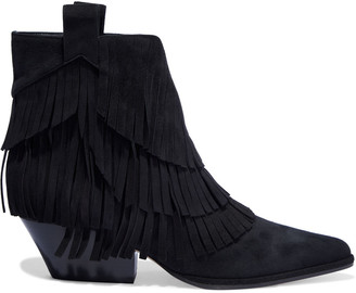 Sergio Rossi Carla Fringed Suede Ankle Boots