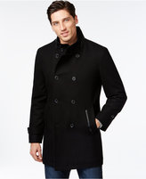 INC International Concepts Men's Faux-Leather Pieced Peacoat, Only at Macy's