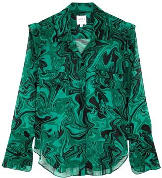MISA Anita Green Printed Blouse