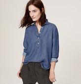 LOFT Petite Back Pleat Chambray Softened Shirt