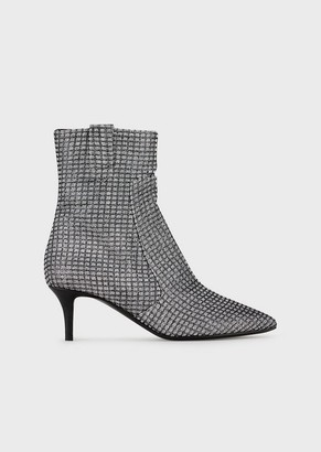 Emporio Armani Lurex Ankle Boots With Kitten Heel