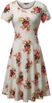 HuHot Women Short Sleeve Round Neck Summer Casual Flared Midi Dress (M, )