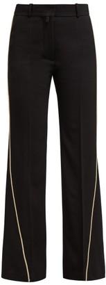 Petar Petrov Contrast Piping Virgin Wool Trousers - Womens - Black Multi