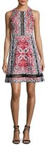 Nanette Lepore Overboard Paisley Cross-Back Dress, Red/Multicolor
