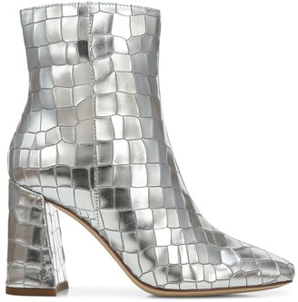Sam Edelman Codie Metallic Croc-Embossed Leather Ankle Boots