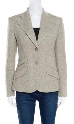Ralph Lauren Beige and Grey Suede Elbow Patch Detail Wool Alpaca Blazer S
