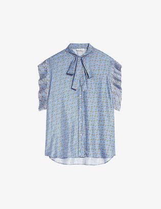 Sandro Chen geometric-print crepe shirt