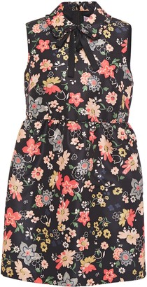 RED Valentino Pussy-bow Floral-print Faille Mini Dress
