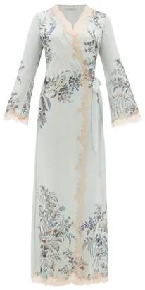Carine Gilson Lace-trimmed Silk-satin Robe - Womens - Green Multi