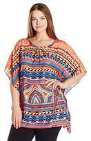 Rafaella Women's Plus Size Tribal Trip Crepe Top