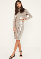 Missguided Silver Glitter Effect Faux Suede Midi Skirt