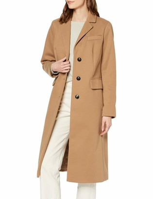 Dorothy Perkins Women's Camel Fitted Single Breasted Crombie Coat