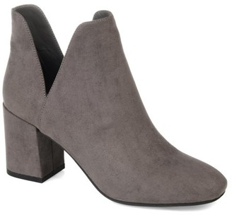 Brinley Co. Womens Side Slit Block Heel Bootie