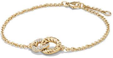 David Yurman Belmont Single Station Bracelet with Diamonds in 18K Yellow Gold