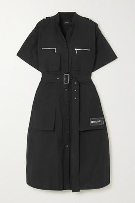 we11done Belted Appliqued Cotton-blend Midi Dress - Black