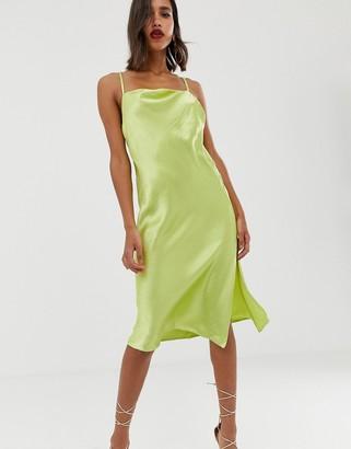 Asos Design DESIGN cami midi slip dress in high shine satin with strappy back-Blue