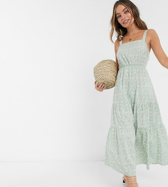 Vero Moda Petite tiered floral maxi dress with tie back detail in green daisy print