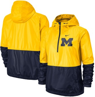 Nike Women's Maize/Navy Michigan Wolverines Anorak Half-Zip Jacket