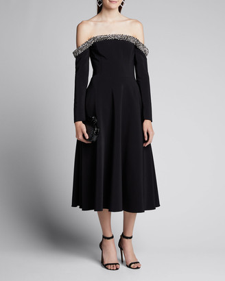 Jason Wu Collection Jeweled Off-the-Shoulder Crepe Cocktail Dress