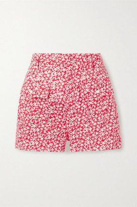 Solid & Striped Floral-print Broderie Anglaise Cotton Shorts - Tomato red