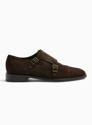 Topman Brown Real Suede Monk Shoes