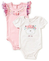 Baby Starters Baby Girls 3-12 Months Floral Bear Cap-Sleeve Bodysuit Two-Pack