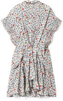 Chloé Ruffle-trimmed Pleated Floral-print Georgette Mini Dress - Ivory