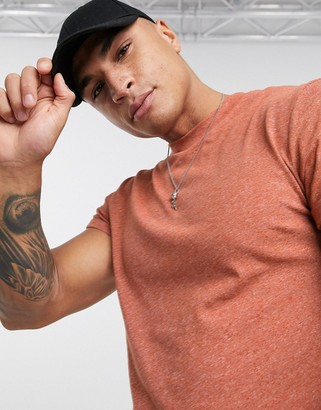 ASOS DESIGN t-shirt with roll sleeve in tan inject fabric